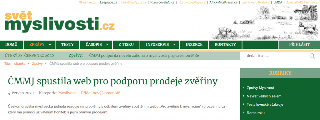 http://www.svetmyslivosti.cz/zpravy/cmmj-spustila-web-pro-podporu-prodeje-zveriny